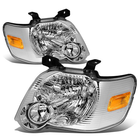 For 06-10 Ford Explorer/Sport Trac U251 Pair of Headlight (Chrome Housing Amber Reflector) 07 08