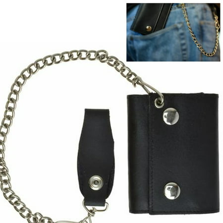 Metal Flat Wallet (1 Black Genuine Leather Men Wallet Trifold Metal Chain Biker Trucker)