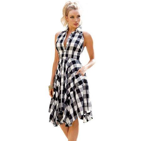 Enjoyofmine Women's Plaid Tweed Shirt Dress, Sleeveless Casual Dress Retro Summer Women Ladies Casual Knee-Length Shirt Dress - Casual Lavender Dress
