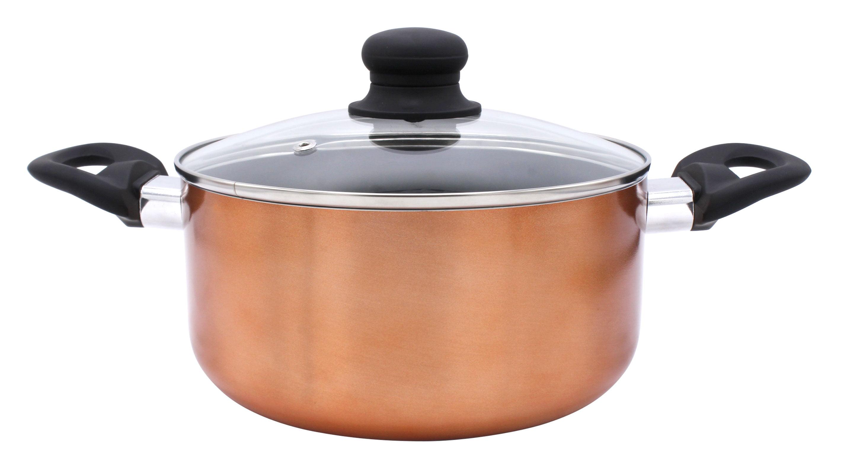 7PC NON STICK COOKWARE SET POT KITCHEN SAUCEPAN FRYING PAN CASSEROLE COPPER LID