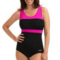 Dolfin Aquashape Women's Color Block Conservative Lap Swimsuit in Black/Pink, Size 16