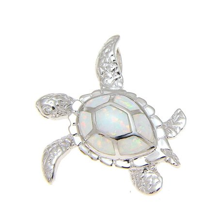 925 Sterling silver rhodium Hawaiian honu sea turtle white opal slider pendant 25mm