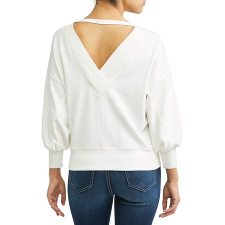 Denim Ribbed Sweatshirt (Sofia Jeans By Sofia Vergara Open Back Sweatshirt Women's )