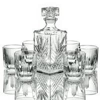 Elegant Whiskey Decanter set whit Stopper & 6 Glasses Italian Craftedy Glasses,