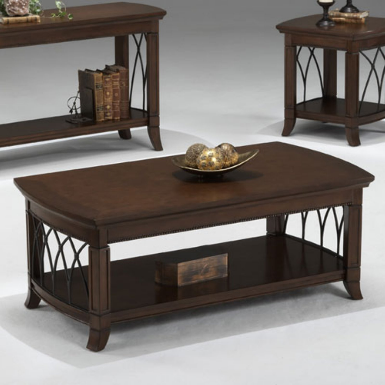 Bernards Cathedral Cherry with Metal Coffee Table