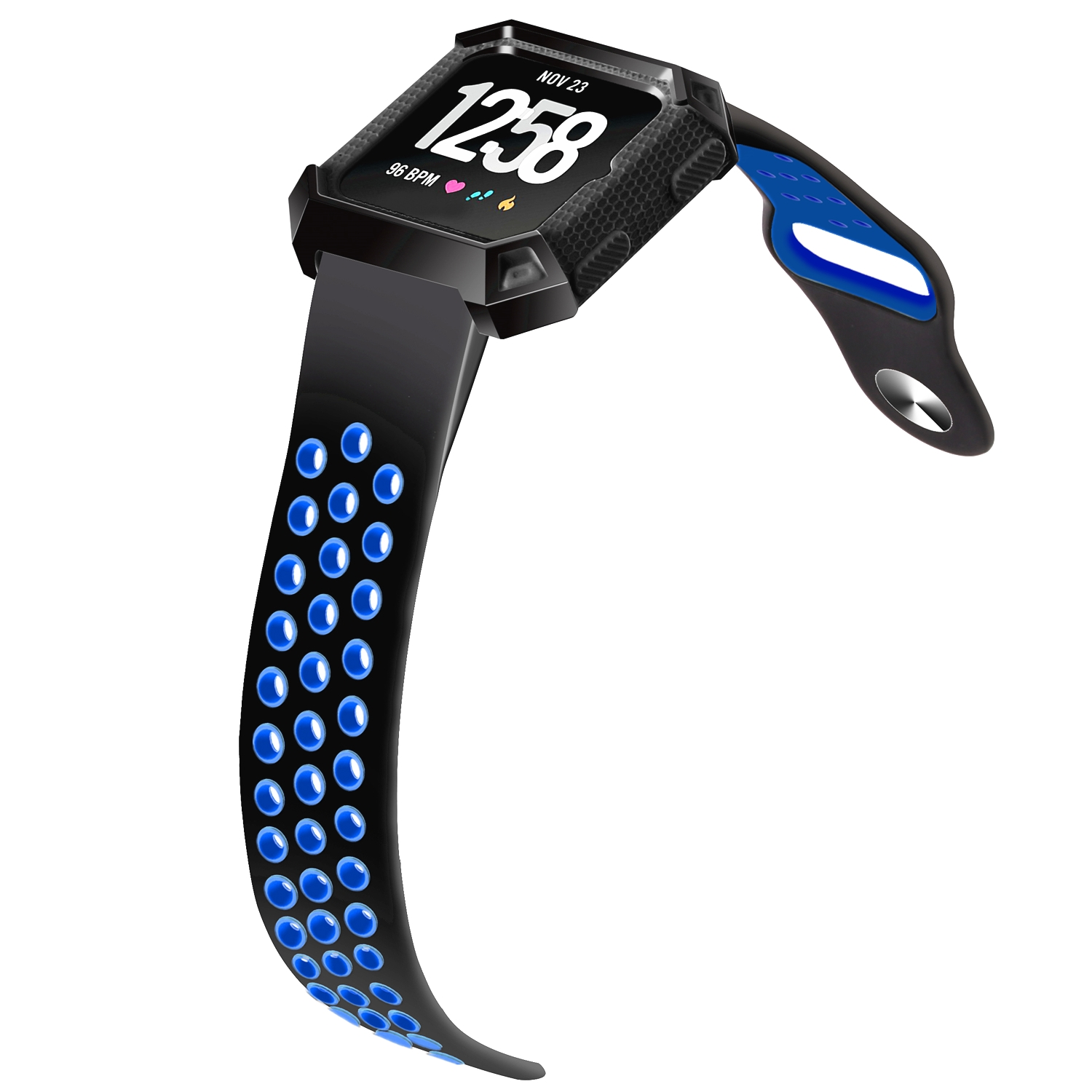 Moretek For Fitbit Versa Sport Bands, Nike Silicone Replacement Wrist Strap Band for Fitbit Versa (Large, Black+Blue)