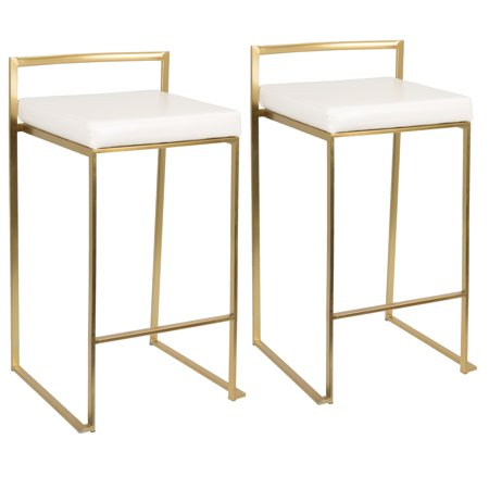 Fuji Contemporary Counter Stool in Gold with White Faux Leather by LumiSource - Set of 2