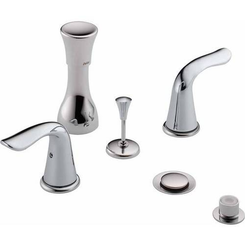 Delta Classic Bidet Fitting Kit Deck-Mounted Vertical Spray with Lahara Metal Lever Handles, Available in Various Colors