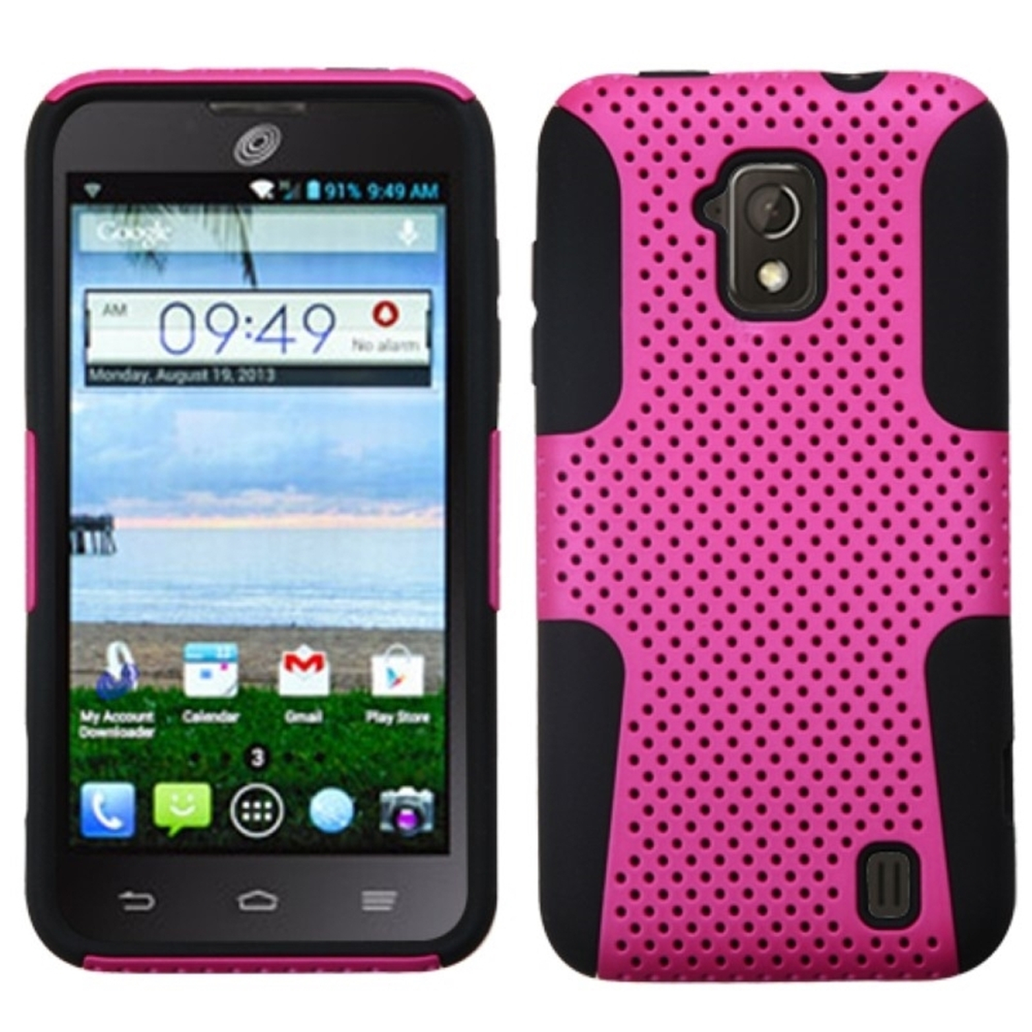 Insten Hot Pink/Black Astronoot Phone Protective Case Cover For ZTE Solar Z795G