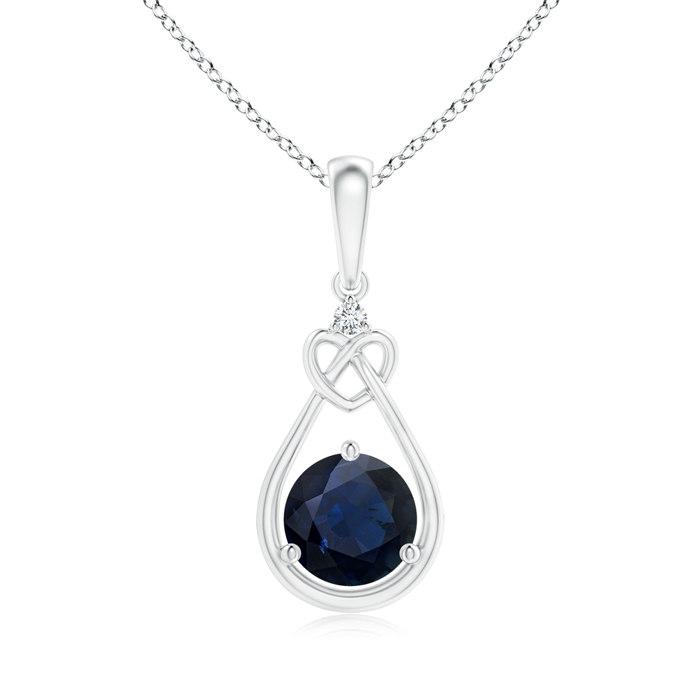 Angara Blue Sapphire Cross Pendant Necklace in Yellow Gold Gv8D5Eeb