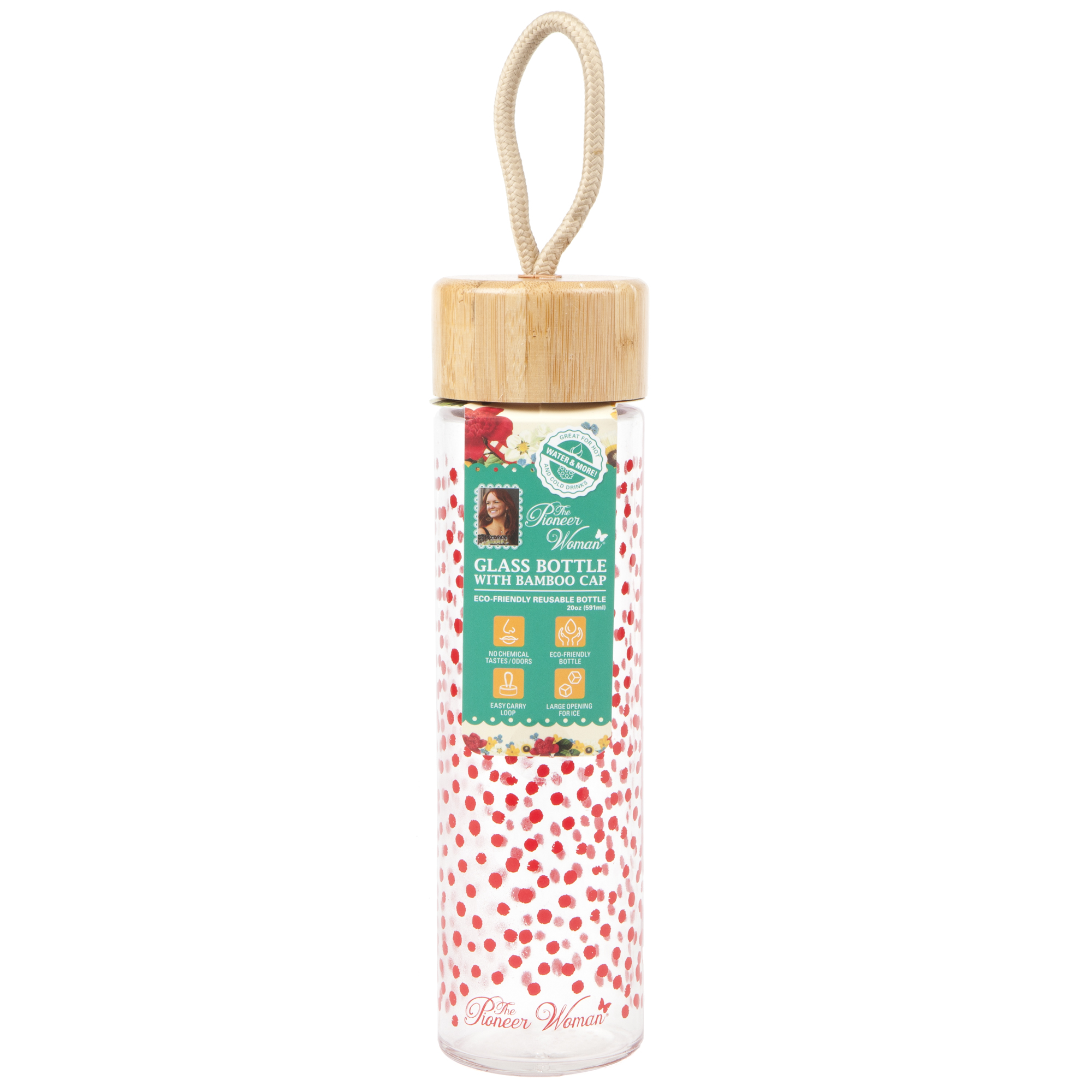 The Pioneer Woman 20oz Glass Water Bottle with Bamboo Cap- Red Polka Dots