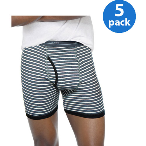 Hanes Men's 5 Pack Striped Boxer Brief