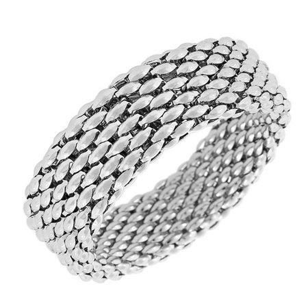 Stainless Steel Silver-Tone Mesh Wide Stretch Bangle Bracelet ()