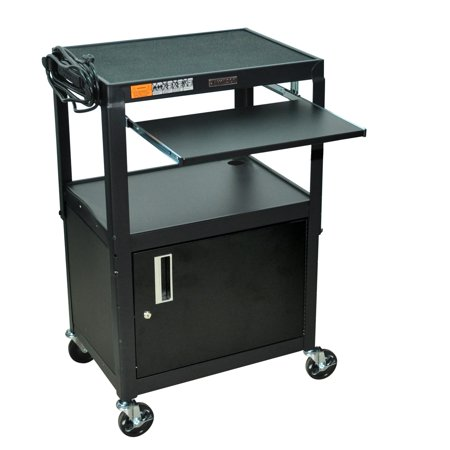 Luxor H. Wilson Adjustable Steel Utility Cart with Keyboard Shelf And Cabinet