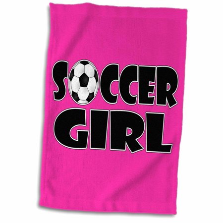 Hot Girl In Towel (3dRose Soccer Girl Black and Hot Pink - Towel, 15 by)