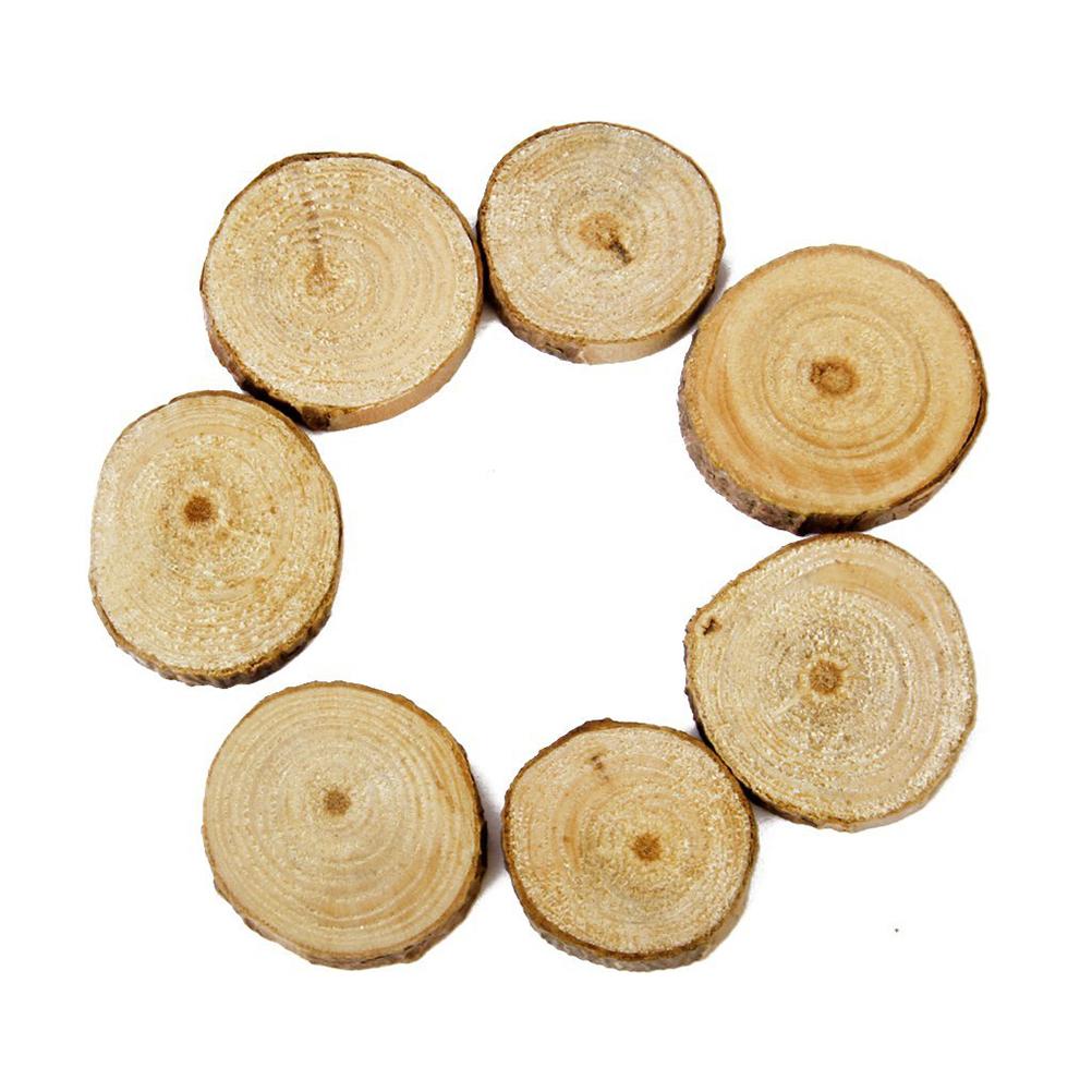 100pcs 1.5-3CM DIY Crafts Wedding Centerpieces Wood Log Slices Discs ...