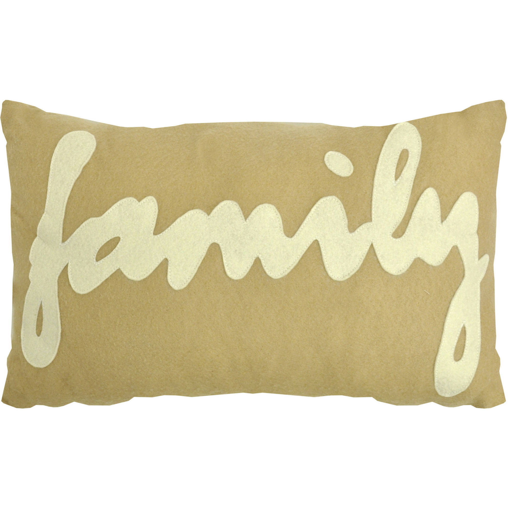 Urban Shop Felt Family Word Decorative Pillow, Taupe with White