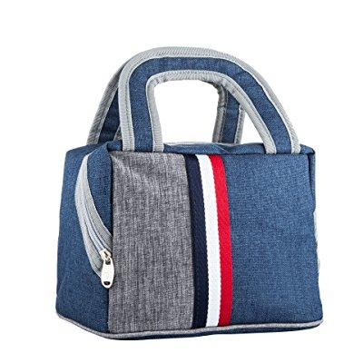 ouo lunch bag lunch box tote bag reusable zip closure handbag back pocket insulated bag cooler