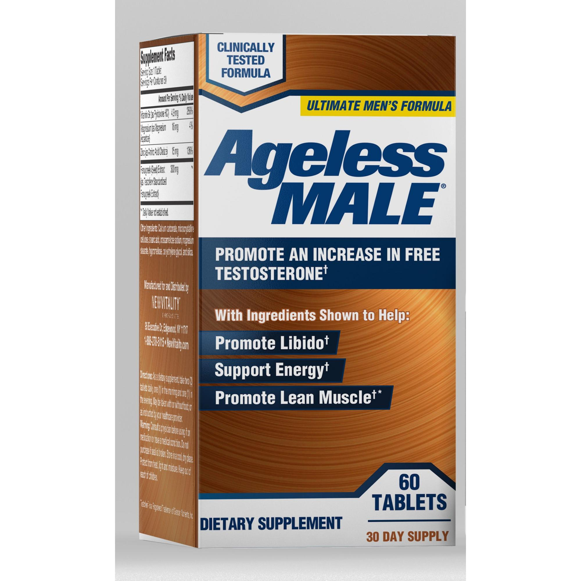 Ageless Male Free Testosterone Booster with Testofen Capsules 60 Ct - Walmart.com - Walmart.com