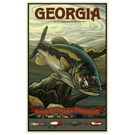 Georgia Bass Fishing Travel Art Print Poster by Paul A. Lanquist (12