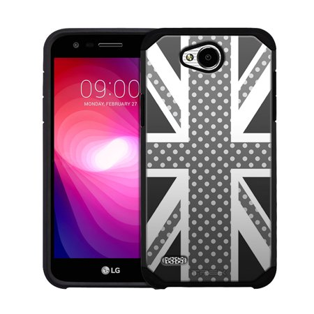 LG X Power 2 Hybrid Slim Case - Union Jack with Black and White Polka Dots
