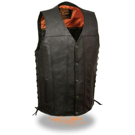 Milwaukee Mens Straight Bottom Side Lace Vest Black