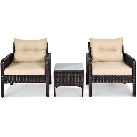 Costway 3PCS Outdoor Rattan Conversation Set Patio Garden Furniture Cushioned Sofa Chair - image 7 of 10