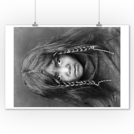 Quilcene Boy Native American Indian - (Edward Curtis c. 1913) - Vintage Photograph (9x12 Art Print, Wall Decor Travel Poster)