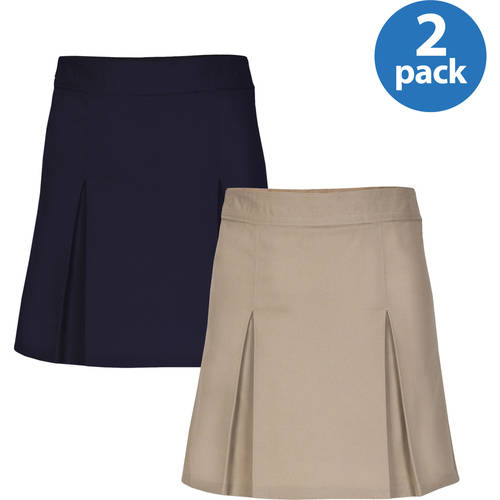 REAL SCHOOL Girls Pleat Front Scooter Skirt School Uniform Approved 2-Pack Value Bundle