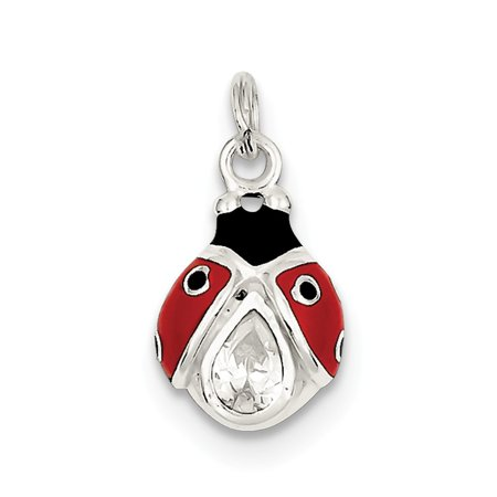 Sterling Silver Cubic Zirconia Black and Red Enameled Polished Lady Bug Charm ()