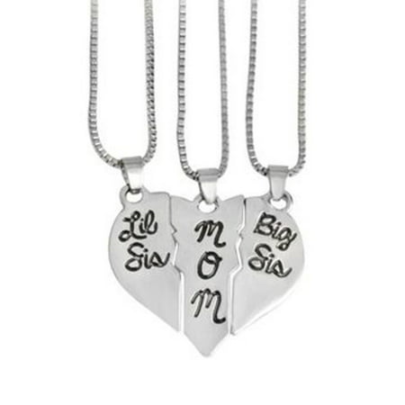 3 Piece-Mom Big and Little Sister Heart-Shaped Anti-Tarnish Silvertone Necklace Set,