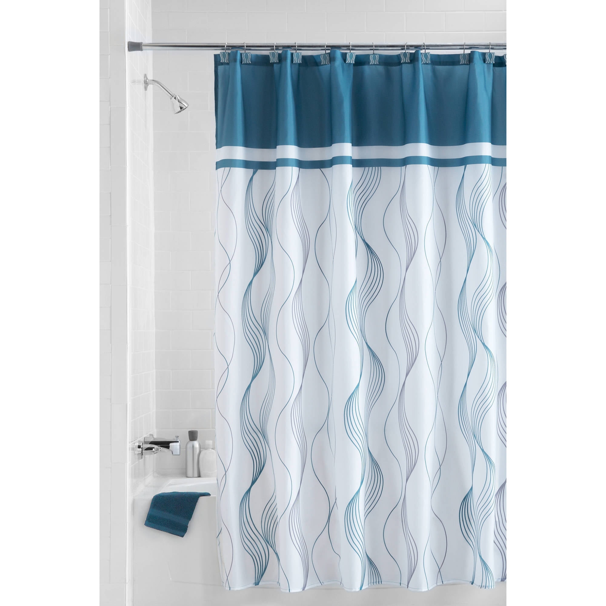 Mainstays Teal Cosmo 13 Piece Fabric Shower Curtain Set Hooks Included