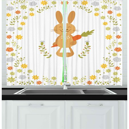 Funny Curtains 2 Panels Set, Cute Summer Illustration with Smiling Little Rabbit Carrots and Flowers Happy Bunny, Window Drapes for Living Room Bedroom, 55W X 39L Inches, Multicolor, by (King Of Carrot Flowers Part 2 And 3)