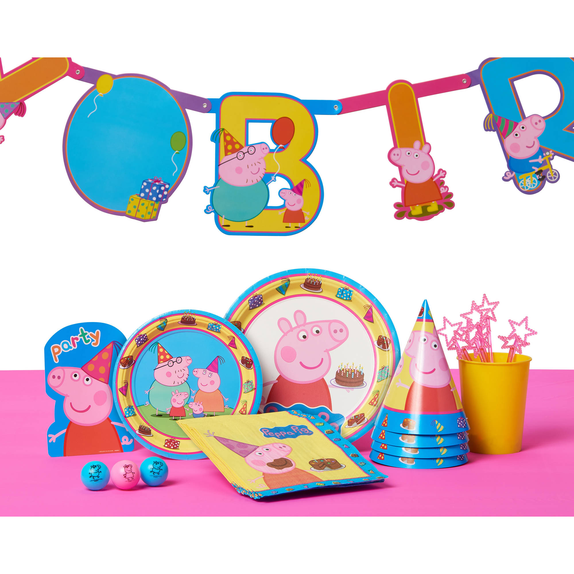 Peppa Pig Party Supplies Kids Birthday Tableware Set and Decoration Banner