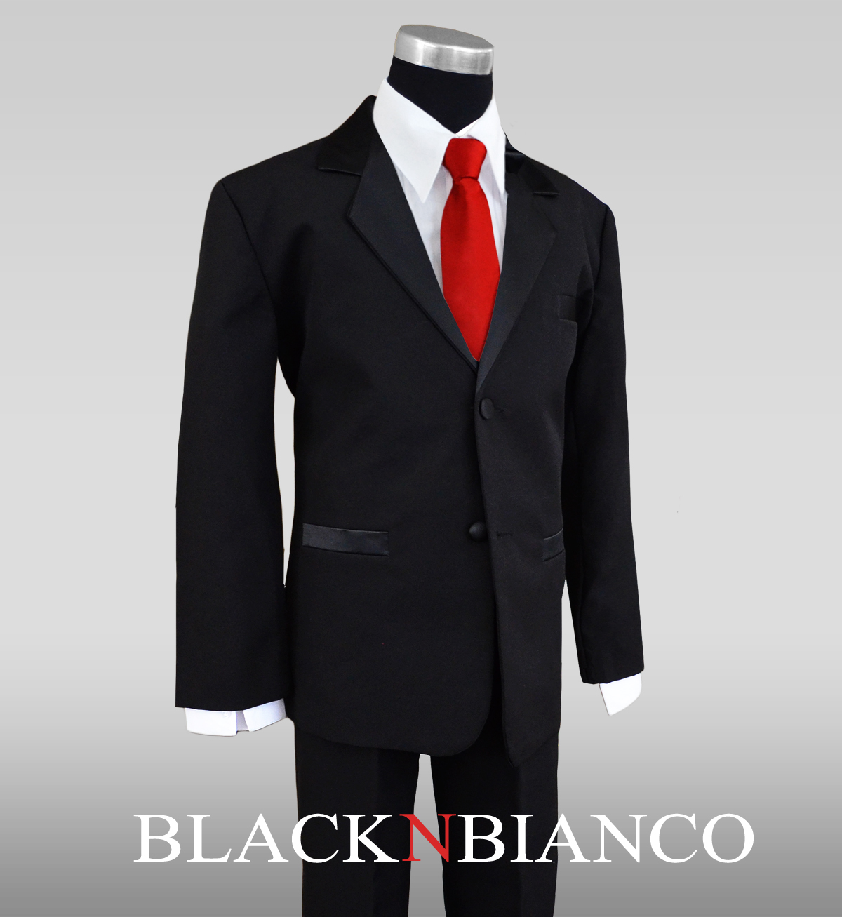 Boys Tuxedo Dress Suit with a Red Neck Tie