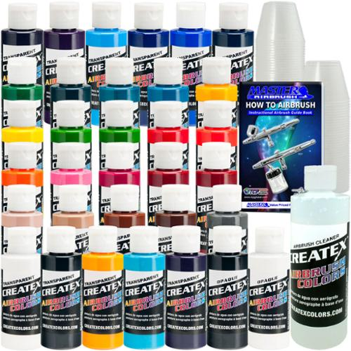Createx 30 Transparent COLORS SET 2oz Airbrush Paint OPAQUE TRANSPARENT Paint