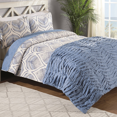 American Home Fashion Crest Home Sanibel 4 Piece Reversible Comforter Set