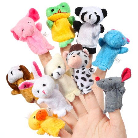 16pcs Cartoon Animal Plush Finger Puppets Set Cute Dolls for Children, Story Time, Shows, Playtime, Schools Color:10pcs