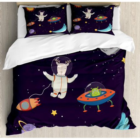 Explore King Size Duvet Cover Set, Hand Drawn Deer Astronaut in Space with Sun Moon Shooting Star and Alien Planet, Decorative 3 Piece Bedding Set with 2 Pillow Shams, Multicolor, (Sun King Brewing)