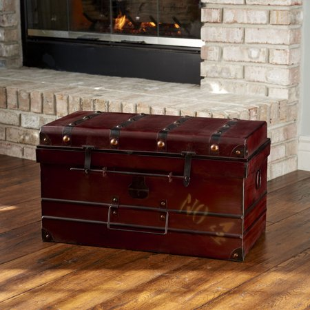 Household Essentials Steamer Classic Storage Trunk, Red, Large