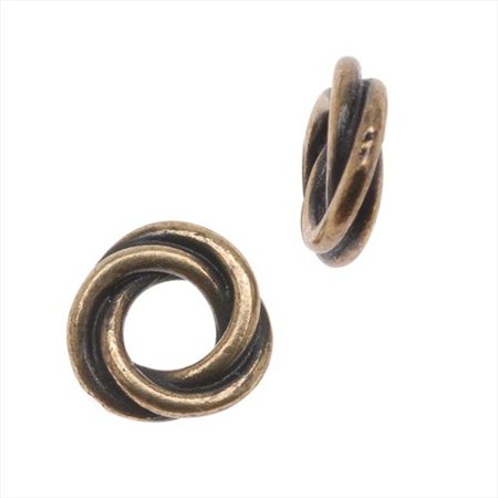Brass Oxide Finish Lead-Free Pewter Love Knot Triple Twist Spacer Beads 8mm (2)