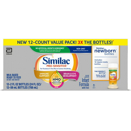 Similac Pro-Sensitive Non-GMO with 2'-FL HMO Infant Formula with Iron for Immune Support, Baby Formula 2 fl oz, 24 Count Infant Newborn Baby Formula