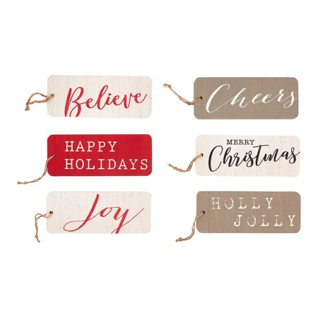 Holiday Time Christmas Script Ornaments, Red, White & Silver, Set of