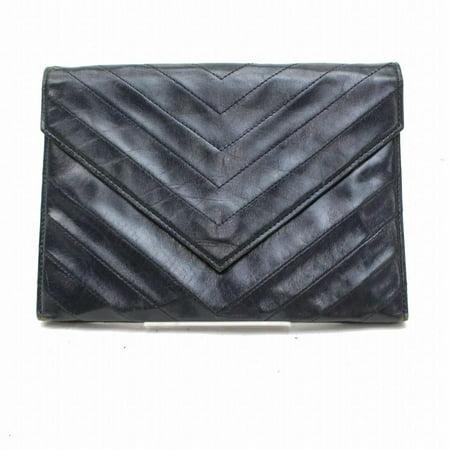 Dark Navy Blue Chevron Quilted Enevelop 869993 Black Leather Clutch