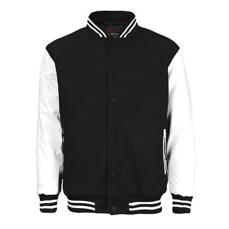 Maximos Mens Varsity Baseball Letterman Vintage Button Down Jacket ()