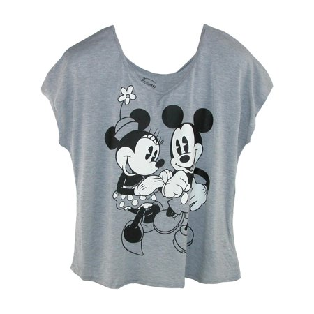Size XL Women's Plus Size Mickey and Minnie Mouse Tee, Grey
