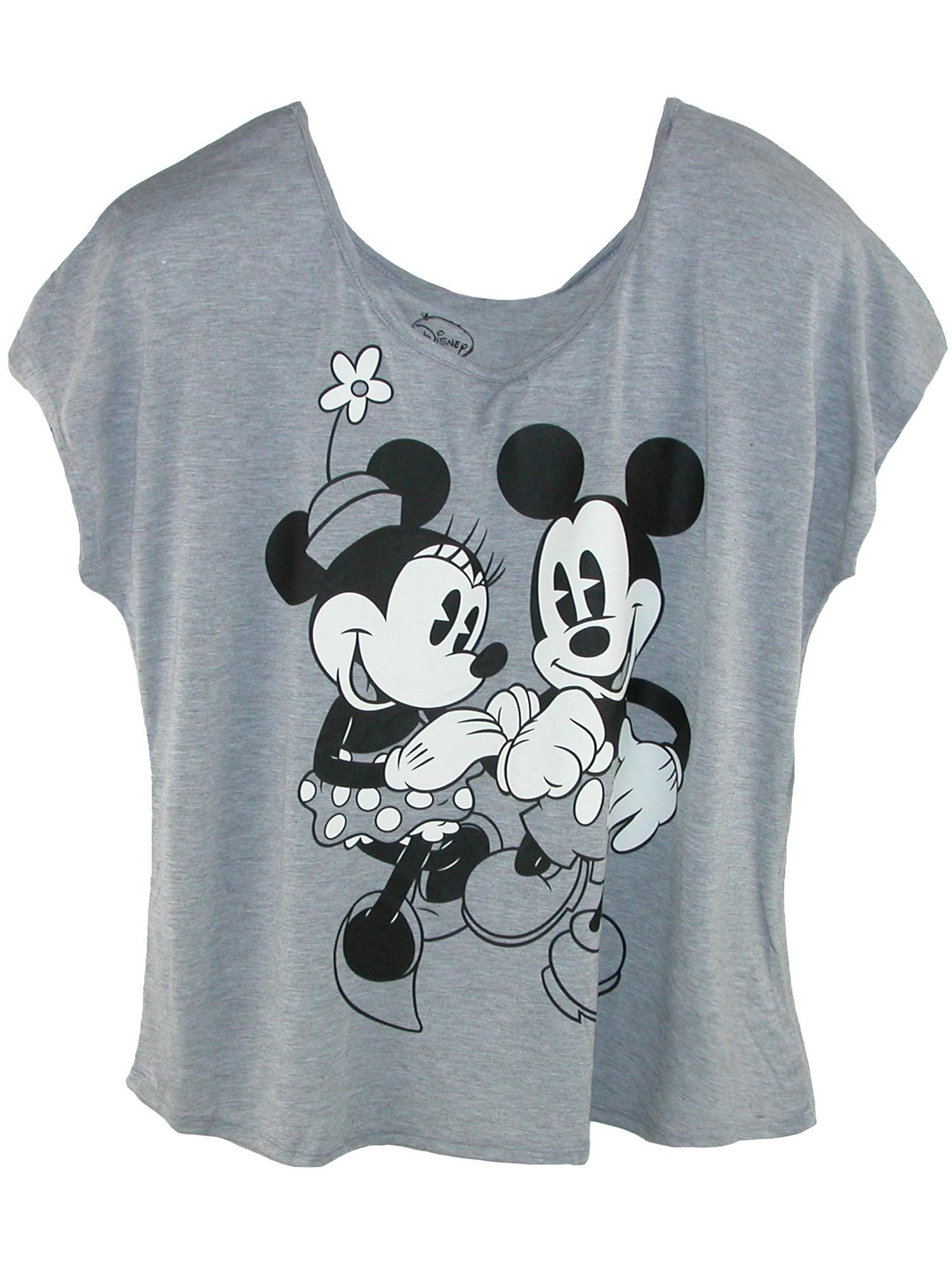 Women's Plus Size Mickey and Minnie Mouse Tee,  Grey