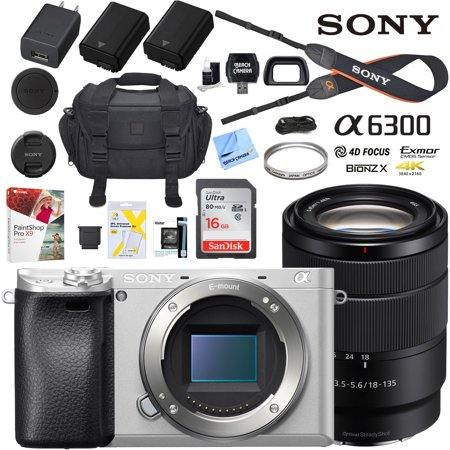 Sony a6300 4K Mirrorless Camera ILCE-6300M/S Alpha (Silver) with 18-135mm F3.5-5.6 OSS Lens and Case Extra Battery Memory Card Pro Photograpy