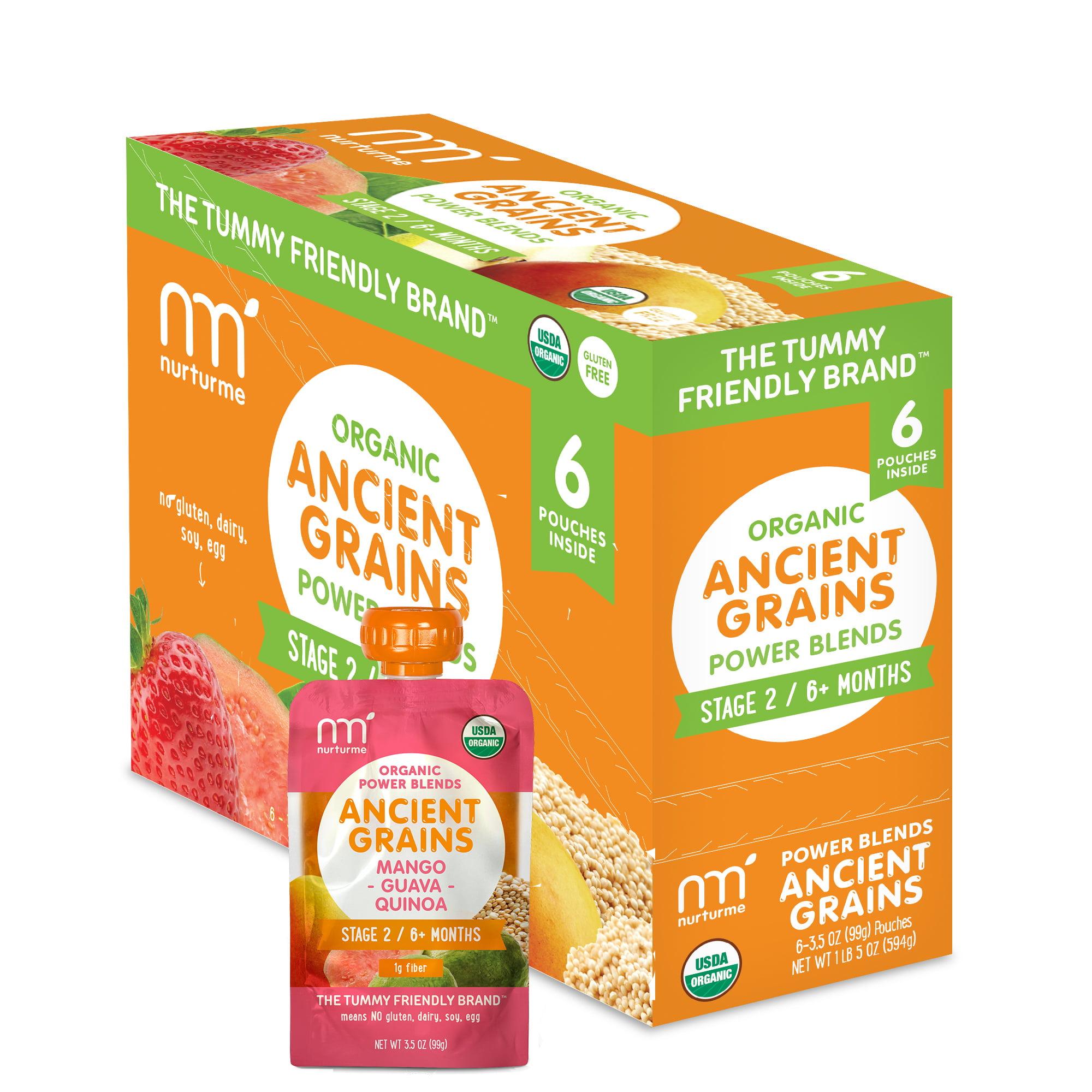 NurturMe Organic Power Blend Ancient Grains Stage 2: Mango + Guava + Quinoa (3.5oz) - 6 Pack