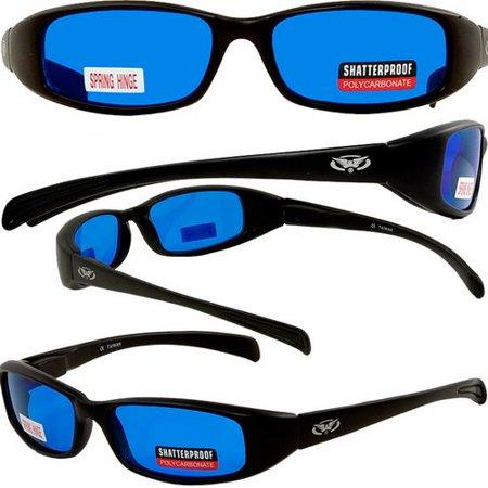 NEW ATTITUDES - Stylish Sunglasses - Blue Lenses, GLOSS Black (Attitude Sunglasses)